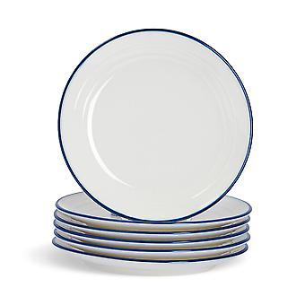 Nicola Spring 6 Piece Country Farmhouse White Dessert Plates Set with Blue Rims - 21cm