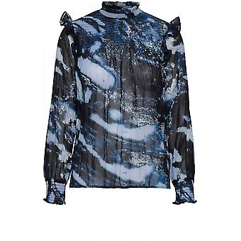 b.young Fenella Blue Patterned Blouse