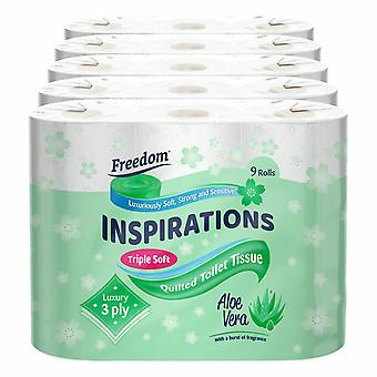 45 Rolls Freedom Inspirations Quilted Aloe Vera 3 Ply Toilet Paper