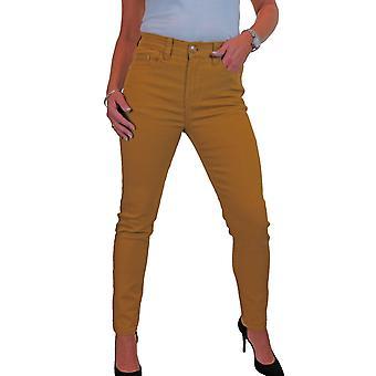 Frauen's Soft Stretch Denim Jeans High Waist Solid Colour 10-22