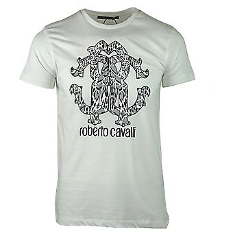 Roberto Cavalli Animal Print Logo White T-Shirt