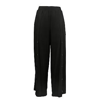 G.I.L.I. Women's Petite Pants Snap Front Wide Leg Knit Black A368151