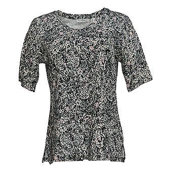 Isaac Mizrahi Live! Frauen's Top Floral gedruckt stricken schwarz A381479