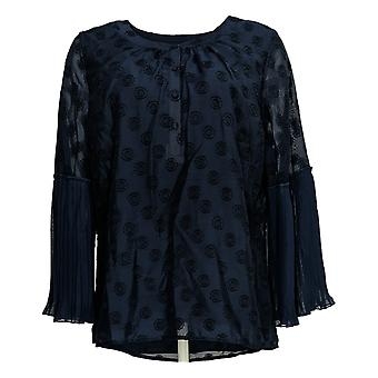 Isaac Mizrahi Live! Women's Top Blouse With Pleated Sleeves Blue A351098