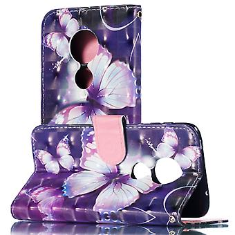 3D Pattern Colored Drawing Horizontal Flip Leather Case for Xiaomi Redmi Note 7, with Holder & Card Slots & Wallet & Lanyard(Purple Butterfly)