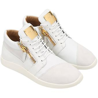 Zanotti women's high sneakers with zip in white leather