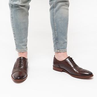 Base London Cast Mens Leather Brogue Shoes Brown