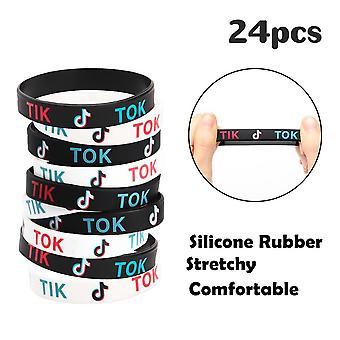 Bracelet Rubber 24 Pcs  Party Supplies Tik Theme Tok Bracelet Silicone