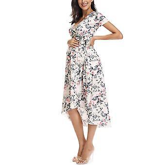 Femei High-low Surplice Wrap Cu Talie Belt Nursing Dress