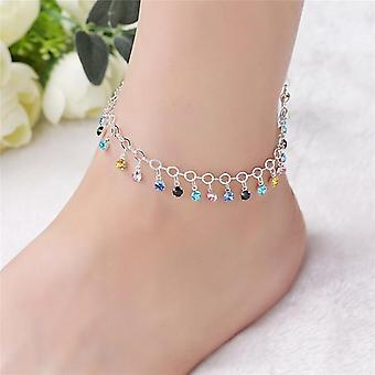 925 Sterling Silver Colorful Crystal Rhinestone Drop Anklet Summer Barefoot