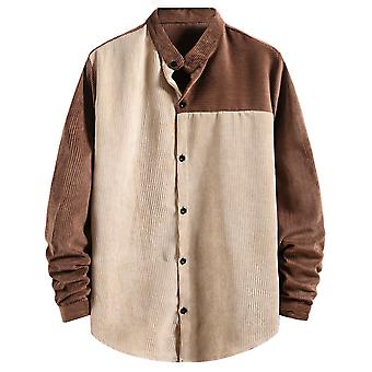 Yunyun Men's Button Stitching Long Sleeve Fashion Male Corduroy Casual Outwear Shirt