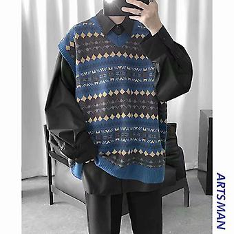 Sweater Vets Men Printed V-neck Leisure Preppy Style Loose Sleeveless Tops