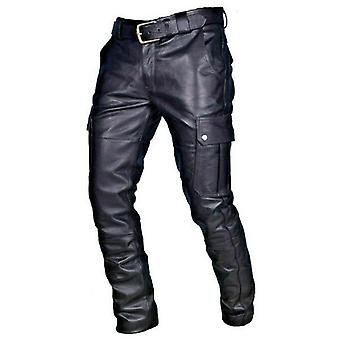 Men Straight Biker Motocycle Long Leather Loose Street Style Trousers Pants