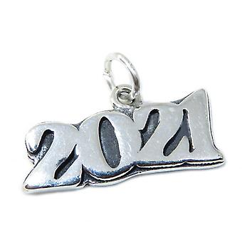 2021 Year Sterling Silver Charm .925 X 1 Years Anniversary Graduate - 8581