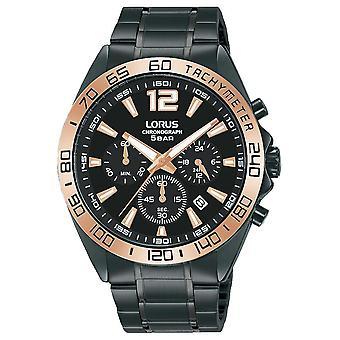 Lorus Mens | Kronograf | Svart urtavla | Svart IP Stål Armband RT336JX9 Klocka