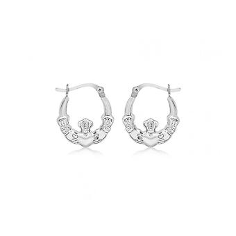 Boucles d'oreilles Eternity Sterling Silver Claddagh Creole Hoop