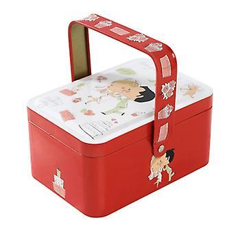 Pieni matkalaukku varastossa karkki laatikko, kuulokkeet laatikko