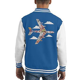 Pan Am Plane Baggage Tags Kid's Varsity Jacket