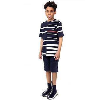 BOSS Kids Navy Panelled Stripe T-Shirt