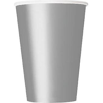 10 Zilveren kartonnen bekers 355 ml