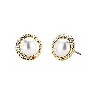 Traveller Pierced Earrings - White Pearls - 22ct Gold Plated - 114203 - 815