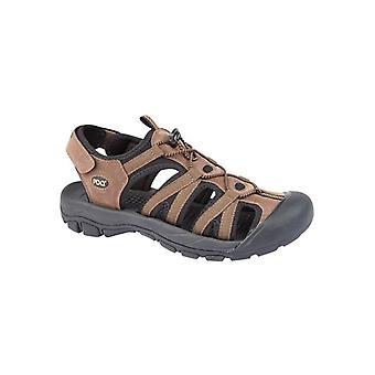 PDQ Zane Mens Toggle Hiking Sandals Brown