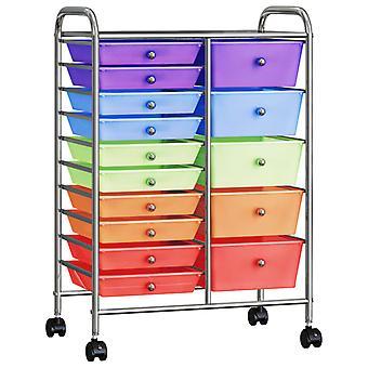 vidaXL fourgon à tiroirs XXL avec 15 tiroirs plastique multicolore