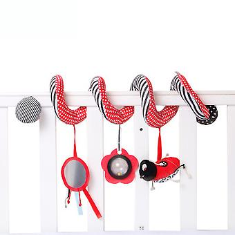 Red Ladybug Stroller Hanging Toy Cartoon Activity Spiral With Mirror Pram Crib Toy For Infant