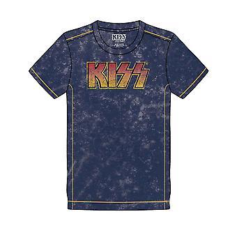 Kiss T Shirt Classic Band Logo new Official Mens Navy Blue Snow Wash
