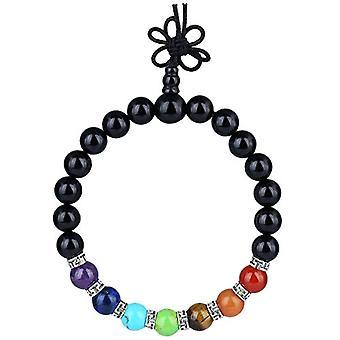 KYEYGWO 21 Mala Bracelet with Crystal Beads Chakra, unisex, Reiki Stretch and League, color: Black Agate (7 stone chakra with Ref. 0715444069239