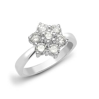 Jewelco London Ladies Solid 18ct White Gold Cluster Set Round G SI1 0.75ct Diamond 7 Stone Flower Cluster Ring 9mm
