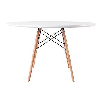 Fusion Living COPY - Eiffel Inspireret store hvide cirkulære spisebord med bøgetræ Ben