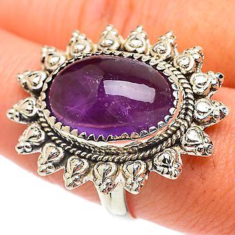Grand anneau d'améthyste taille 10.5 (925 argent sterling) - Bijoux Boho Vintage faits à la main RING65393