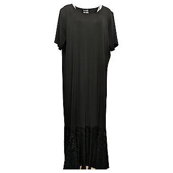 Antthony Plus Dress Short-Sleeve Drop Waist Maxi Black 716301