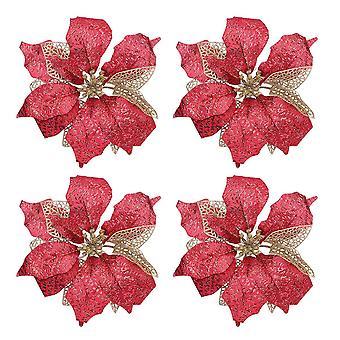 25Cm red 4pcs fake vivid flower decoration diy christmas ornament simulation flower adornment for party christmas dt3165