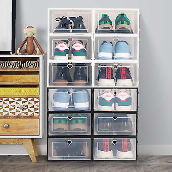 6pcs/3pcs/1pc Transparent Shoe Box Storage Shoe Boxes Thickened Dustproof Shoes Organizer Box Can Be Superimposed Combination Shoe Cabinet