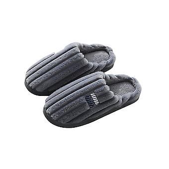 Gray 44-45 thick warm solid comfortable soft plush couple slippers-male homi3349