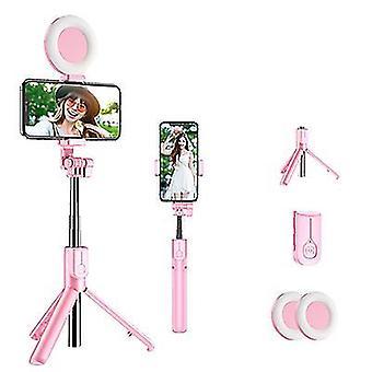 Bluetooth Selfie Stick s led kroužkovým světlem, výsumitelný ruční živý stativ (růžový)