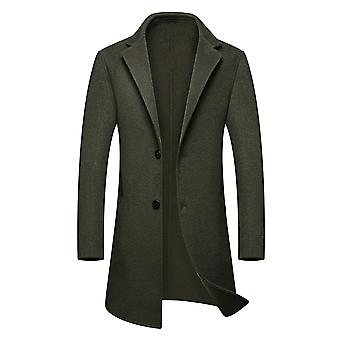 Yunyun Men's Lapel Single-breasted Solid Color Mid-length Overcoat