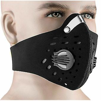 Anti Dust And Activated Carbon Filter Breathing Valve Mask Bicycle Riding Neoprene(Black)