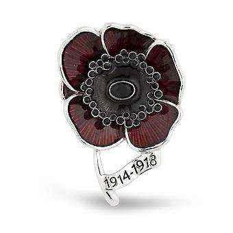 Broszka Pin Czerwony Malowany Mak Pełny Diament Corsage Brytyjski Okolicznościowy 1914-1918 Broszka damska Broszka