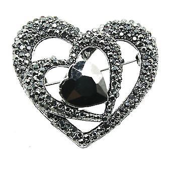 Retro Brooch Pin Black Heart Corsage Alloy Scarf Clip Ladies Brooch