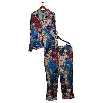 Colección Tolani Pijama de mujer Set Print Botón Tejido Azul A390127