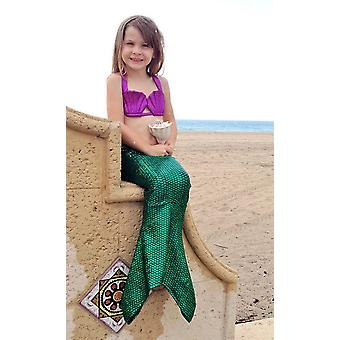 3 stuk hologram zeemeermin ongewone kostuum bikini vrouwelijk kind badmode tienermeisjes half bedekt islamitische korte mouw