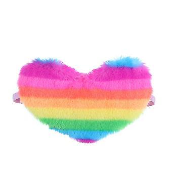 Rainbow Plush Sleeping Mask Children's Heart-shaped Plush Eye Mask Girl's