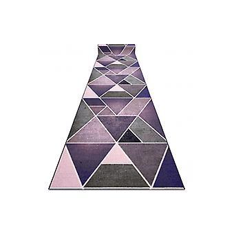 Runner antislip DRIEHOEKEN gom violet 80 cm