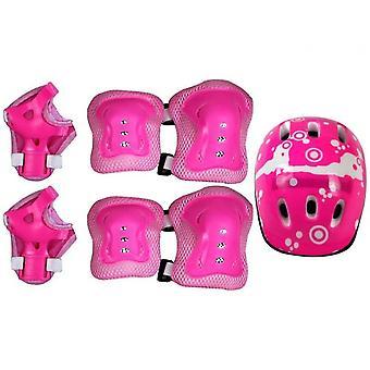 6-piece Skate Protective Gear Set, Universal Helmet Combo Set(Pink)