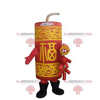 Mascote REDBROKOLY.COM dinamite vermelha e amarela, disfarce de dinamite