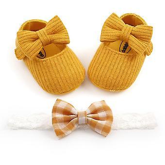 Bowknot Soft Sole Prewalker Mekko Kiinteät kengät + Pääpanta