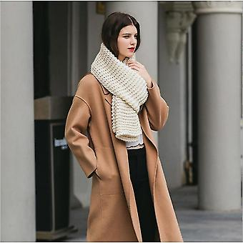 Imitation Cashmere Winter Women's Scarf Bib Thick Pure Color Knitted Thick Wool Handmade Scarf